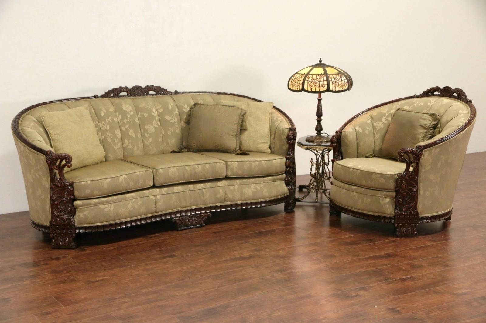 Sold – Carved Sofa & Club Chair Set, 1930's Vintage, New Inside 1930S Sofas (View 7 of 20)