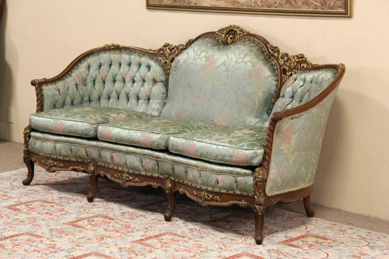 Sold – French Style Carved 1940's Vintage Sofa, Original – Harp Within French Style Sofa (Image 18 of 20)