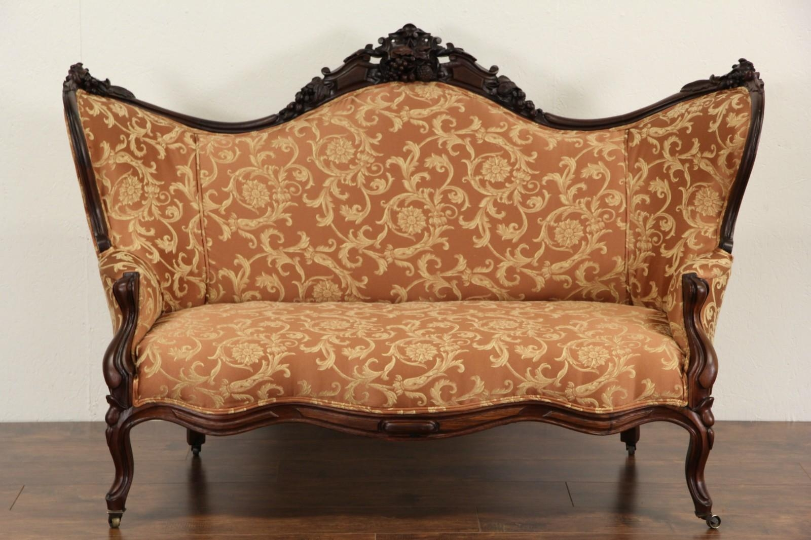 Sold – Victorian 1860 Antique Carved Grape & Fruit Motif Rosewood Inside Antique Sofa Chairs (Image 16 of 20)