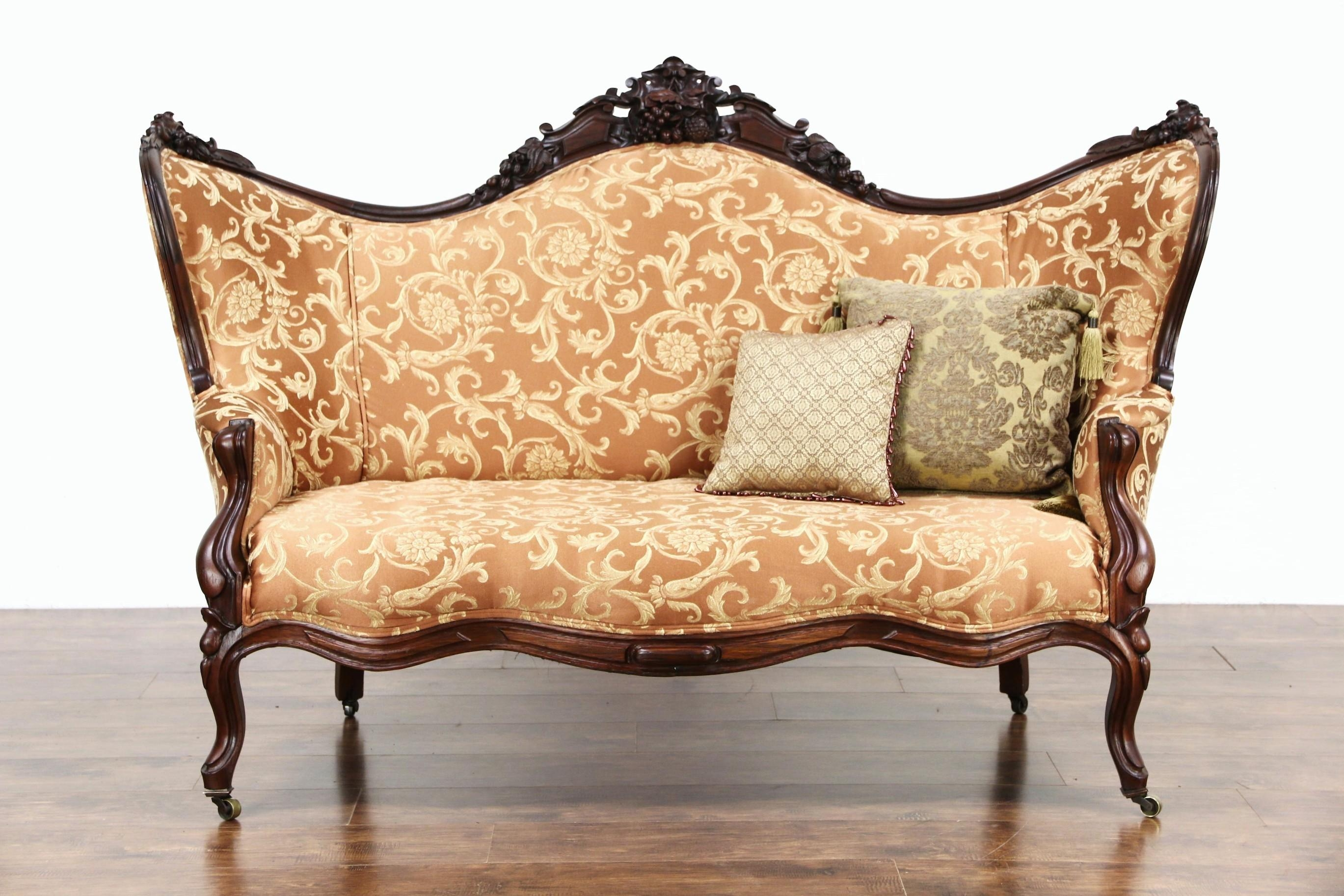 Sold – Victorian 1860 Antique Carved Grape & Fruit Motif Rosewood Regarding Antique Sofa Chairs (Image 17 of 20)
