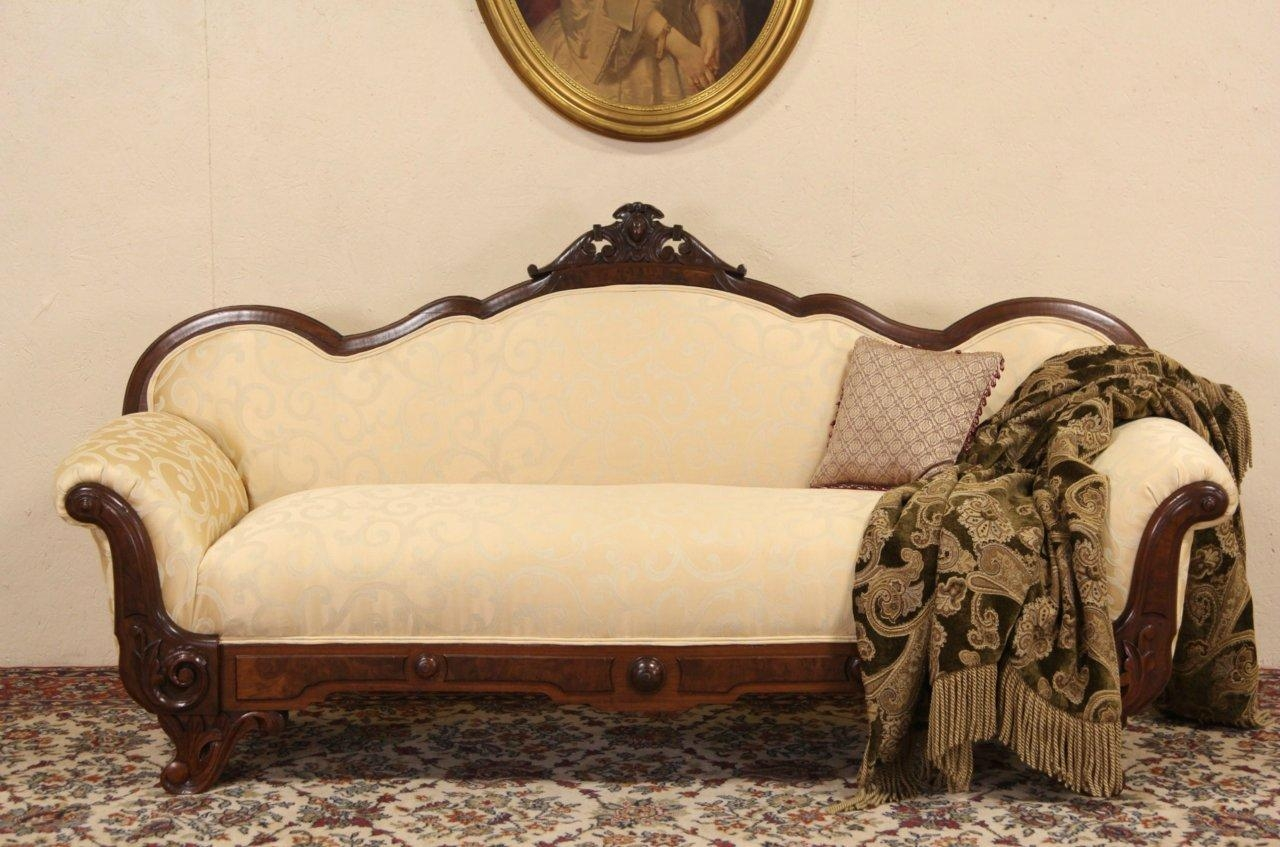 Sold – Victorian Carved 1860 Antique Sofa Or Loveseat, Newly Regarding Antique Sofa Chairs (Image 19 of 20)