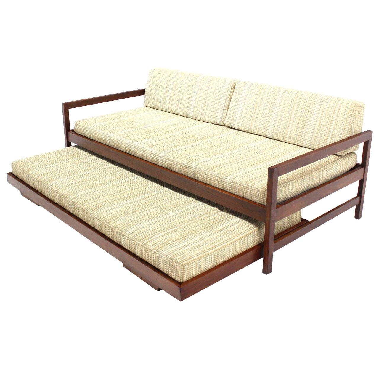 Solid Walnut Frame Mid Century Modern Trundle, Pull Out Daybed At With Regard To Sofas With Trundle (Image 17 of 20)