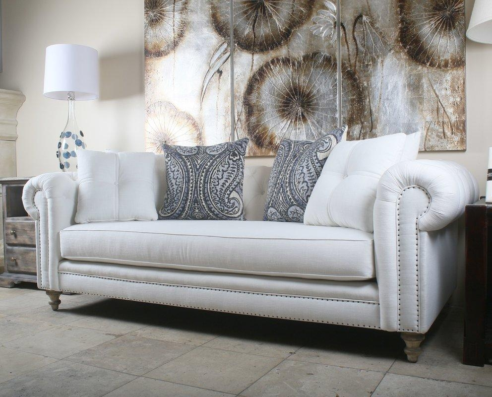South Cone Home Hanover Tufted Linen Chesterfield Sofa | Wayfair Regarding Tufted Linen Sofas (Image 17 of 20)