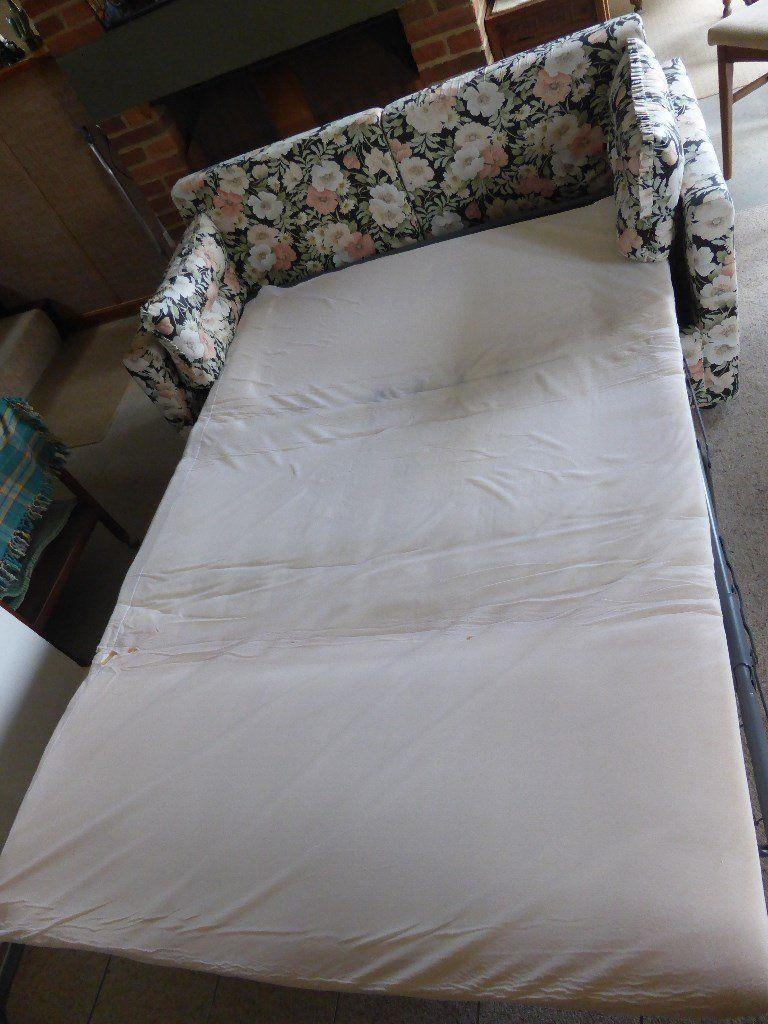 Standard Double Sofa Bed In Floral Chintz Print In Good Condition Inside Chintz Sofa Beds (View 10 of 20)