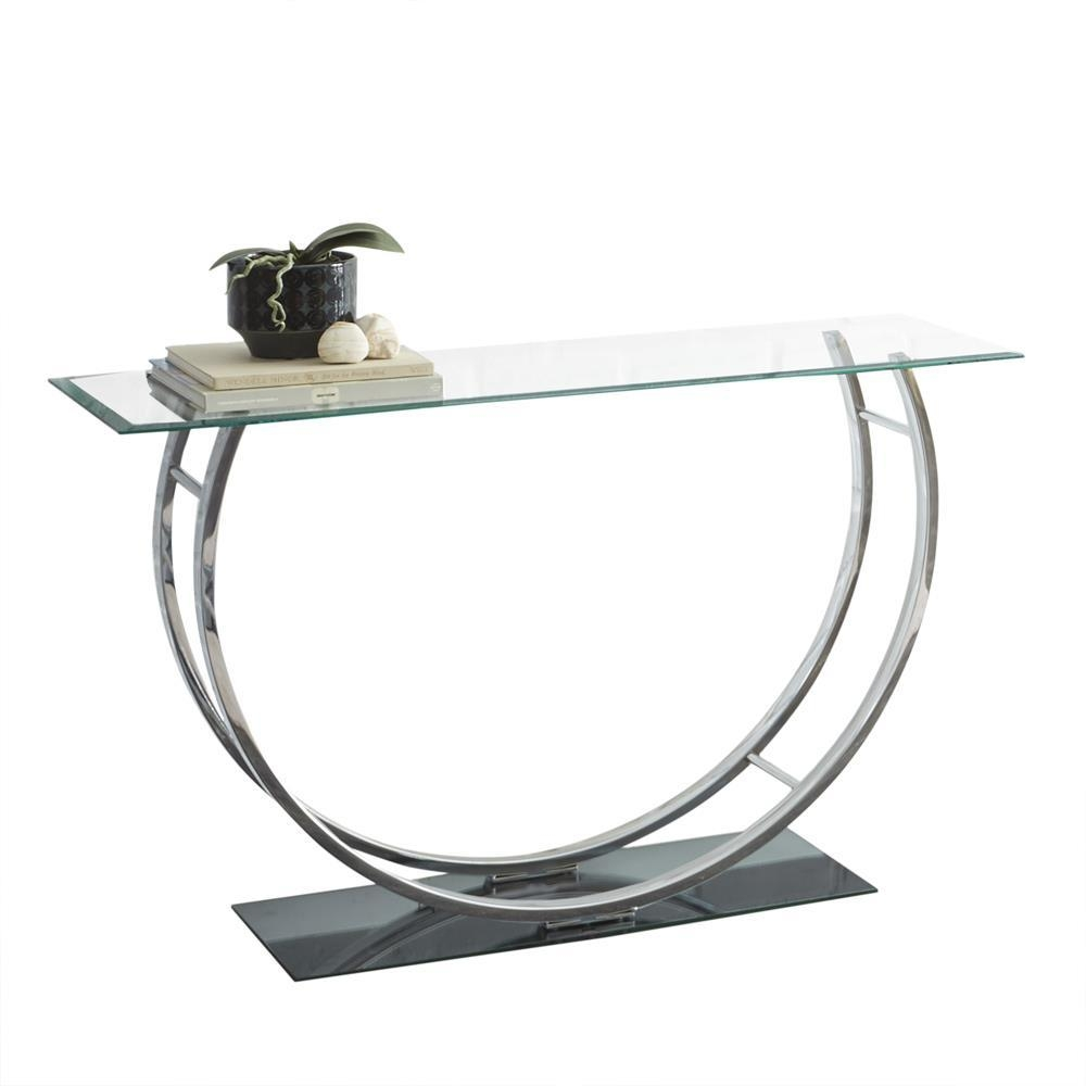 Steve Silver Natalie Glass Top Sofa Table W/chrome Base – Beyond Regarding Chrome Sofa Tables (Image 18 of 20)