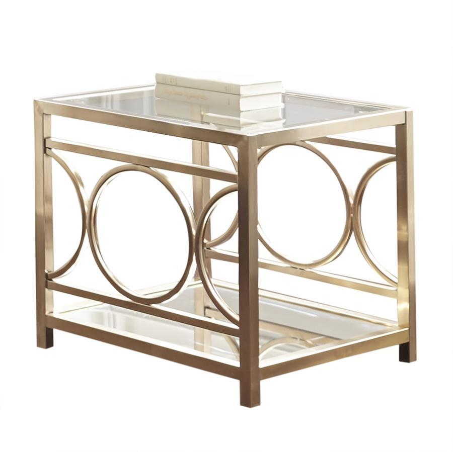 Steve Silver Olympia Glass Top End Table W/gold Chrome Base Intended For Gold Sofa Tables (View 7 of 20)