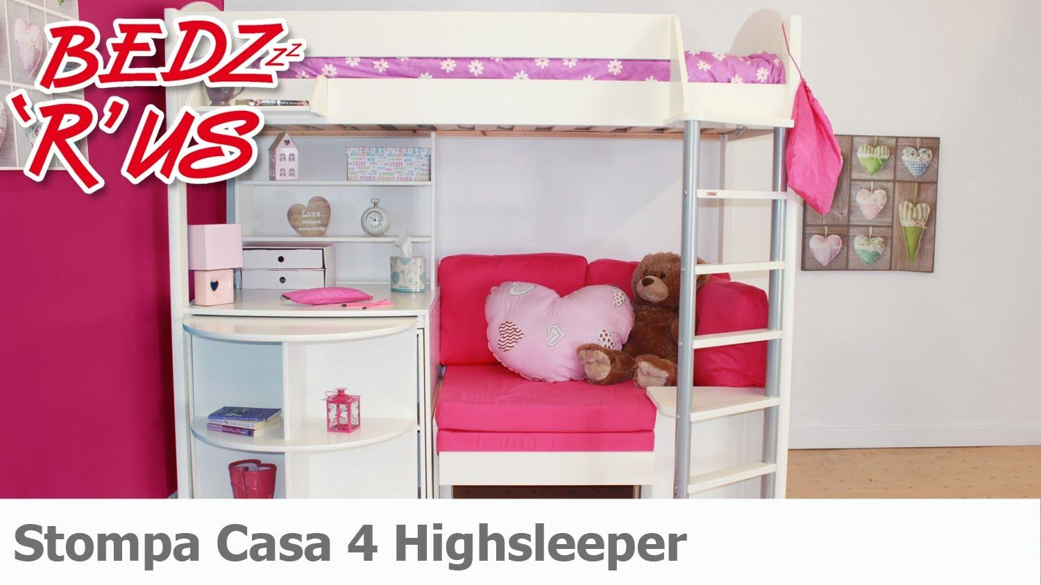 Stompa Casa 4 Highsleeper Bed – Bedzrus – Youtube With Regard To High Sleeper With Desk And Sofa (View 12 of 20)