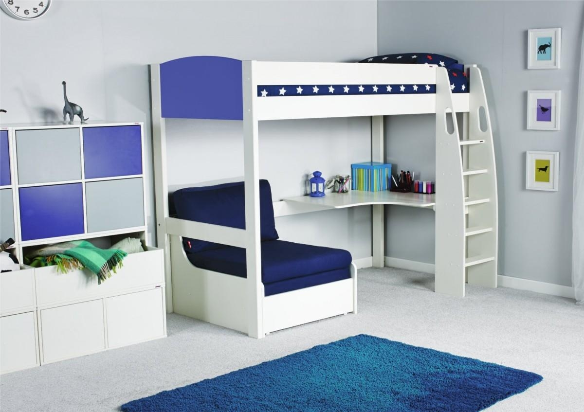 Stompa Unos High Sleeper Frame With Desk And Chair Bed Only Within High Sleeper With Desk And Sofa Bed (Image 19 of 20)