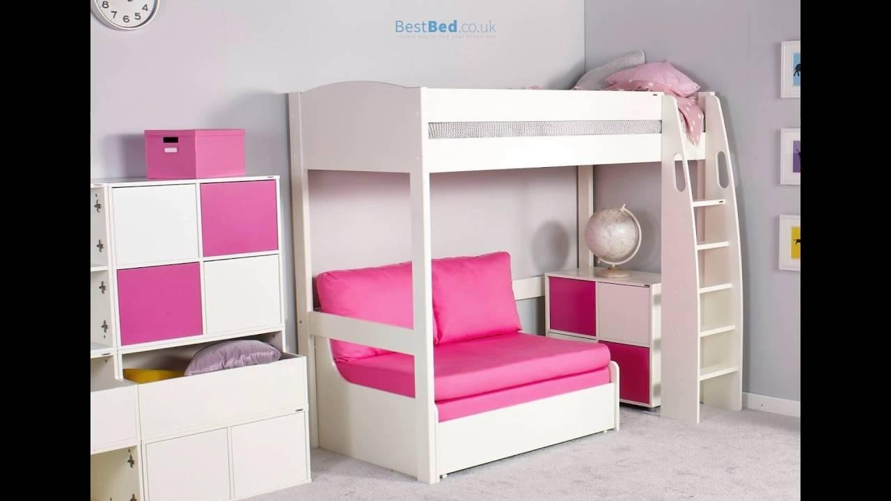 Stompa Unos High Sleeper Frame With Double Sofa Bed Only – Youtube Inside High Sleeper With Desk And Sofa Bed (Image 20 of 20)