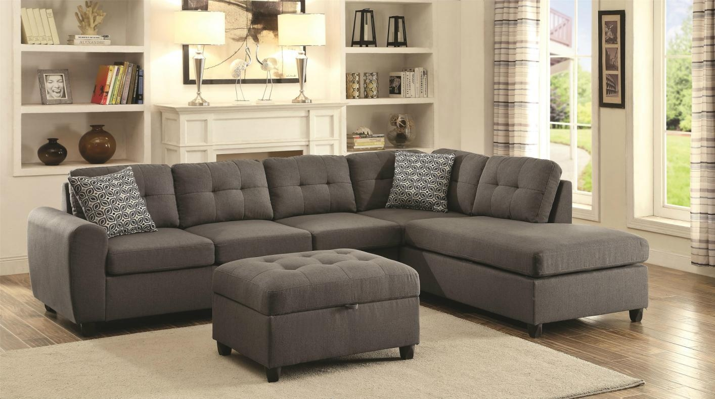 Stonenesse Grey Fabric Sectional Sofa – Steal A Sofa Furniture Intended For Coaster Sectional Sofas (Image 20 of 20)
