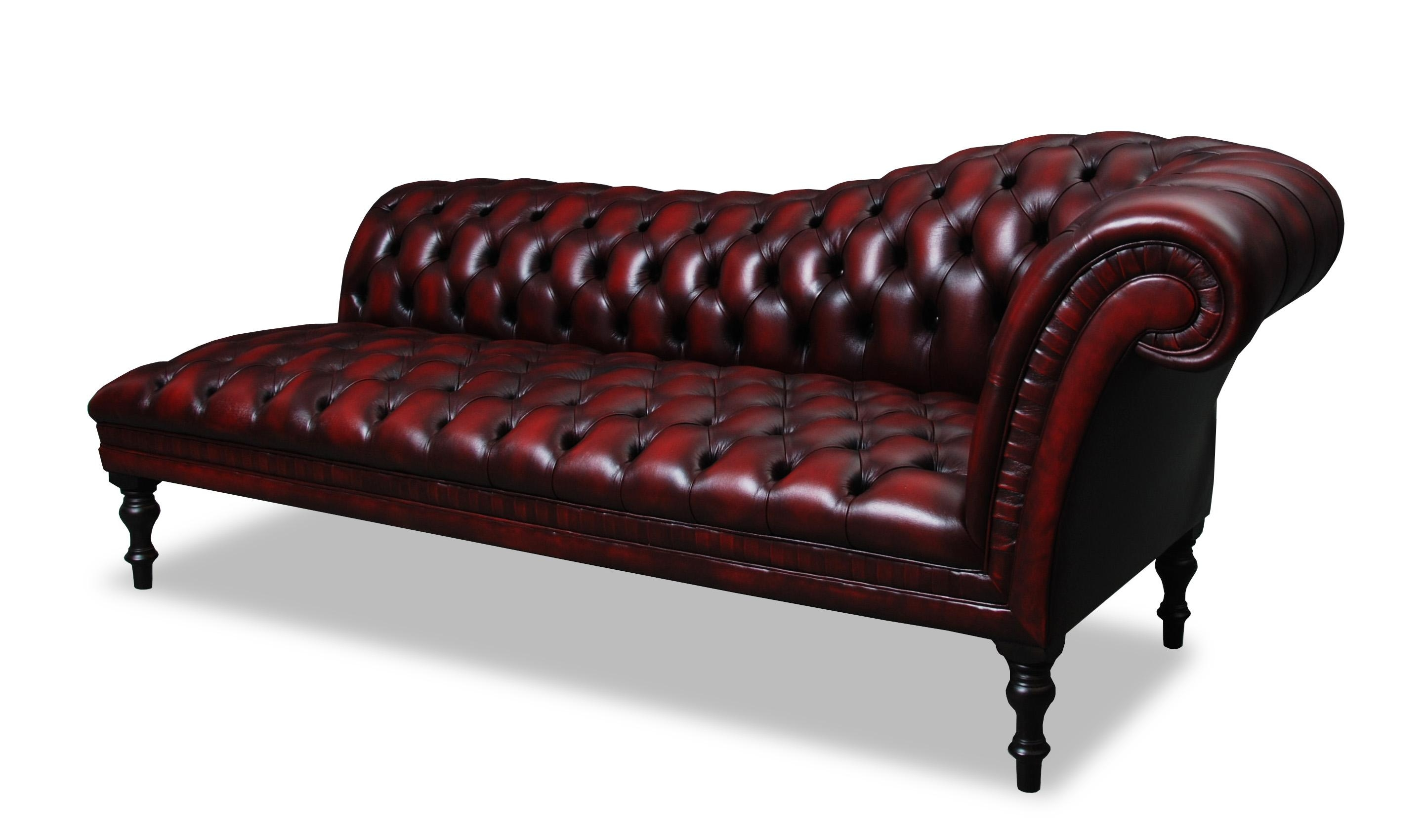 Storage Chesterfield Chaise Lounge Upholstered In Antique Oxblood Within Red Chesterfield Sofas (Image 17 of 20)
