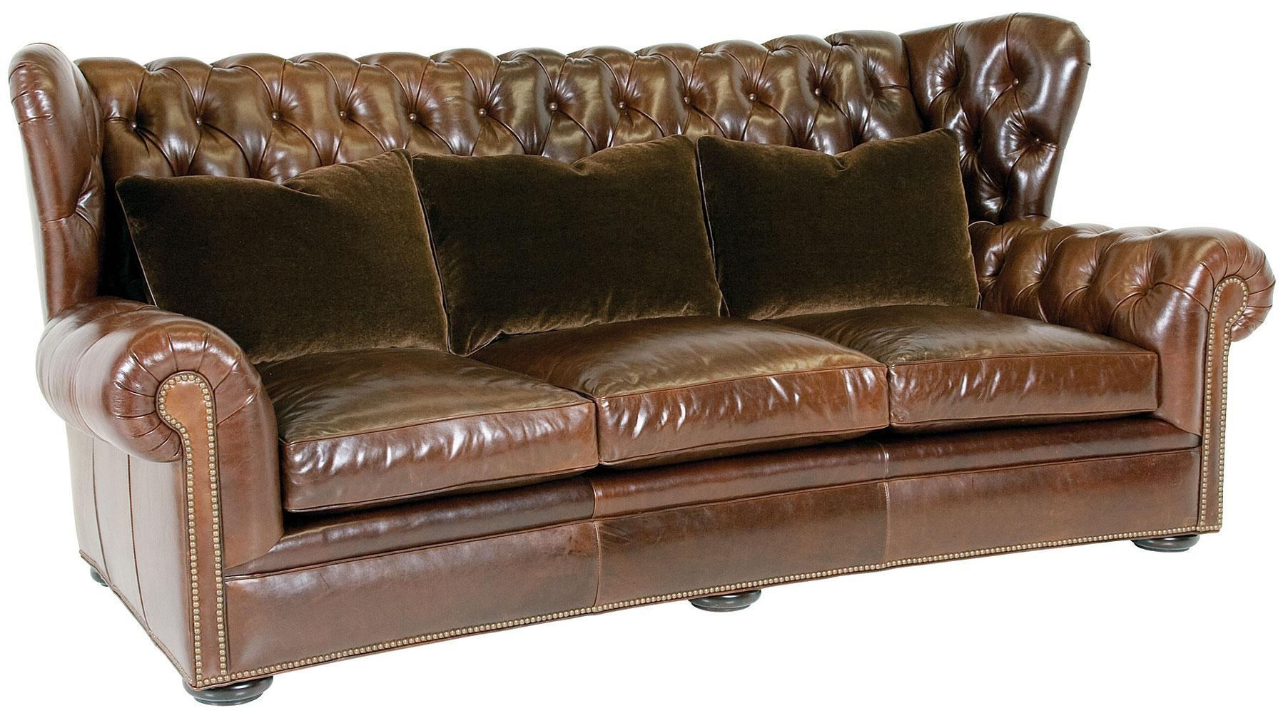 Storage Chesterfield Tufted Leather Sofa Brass Nailhead Trim For Tufted Leather Chesterfield Sofas (Image 19 of 20)