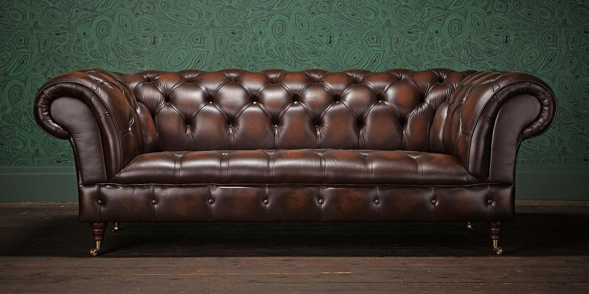 Storage Cordovan Leather Small Chesterfield Sofa 2 Small Regarding Small Chesterfield Sofas (View 5 of 20)