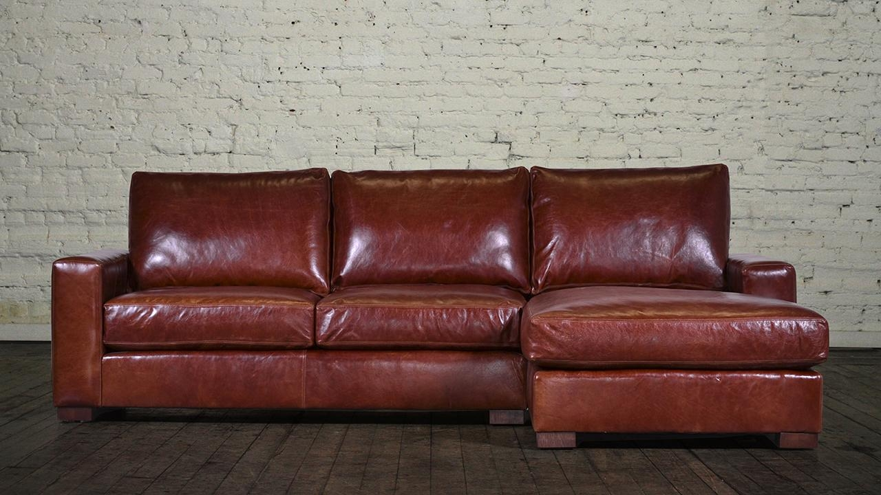Storage Monroe Chaise Sectional Leather Capetown Chestnut 3 Custom Regarding Custom Leather Sectional (View 7 of 15)