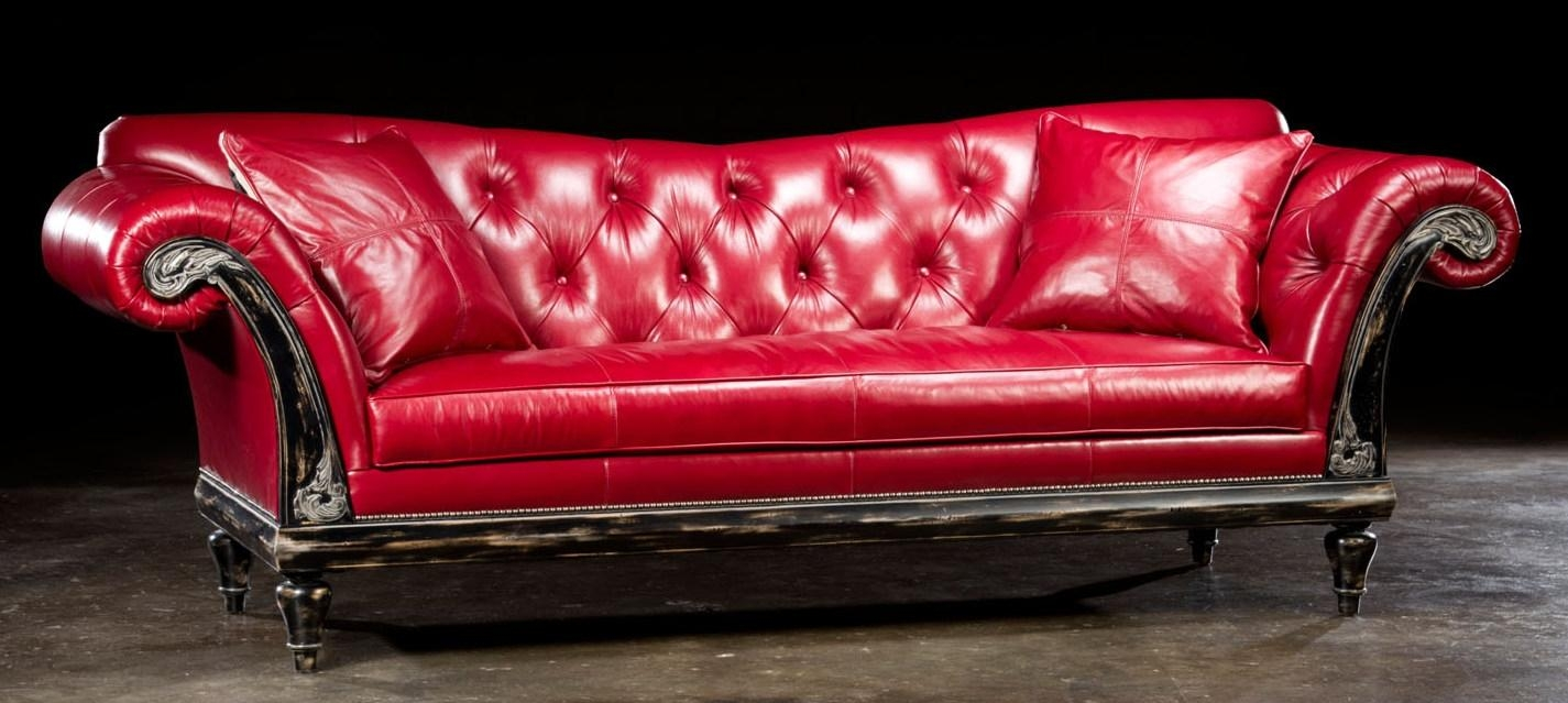 Storage Sofa Couch & Love Seat 1 Red Hot Leather Sofa Usa Made With Regard To Red Leather Chesterfield Sofas (Image 17 of 20)