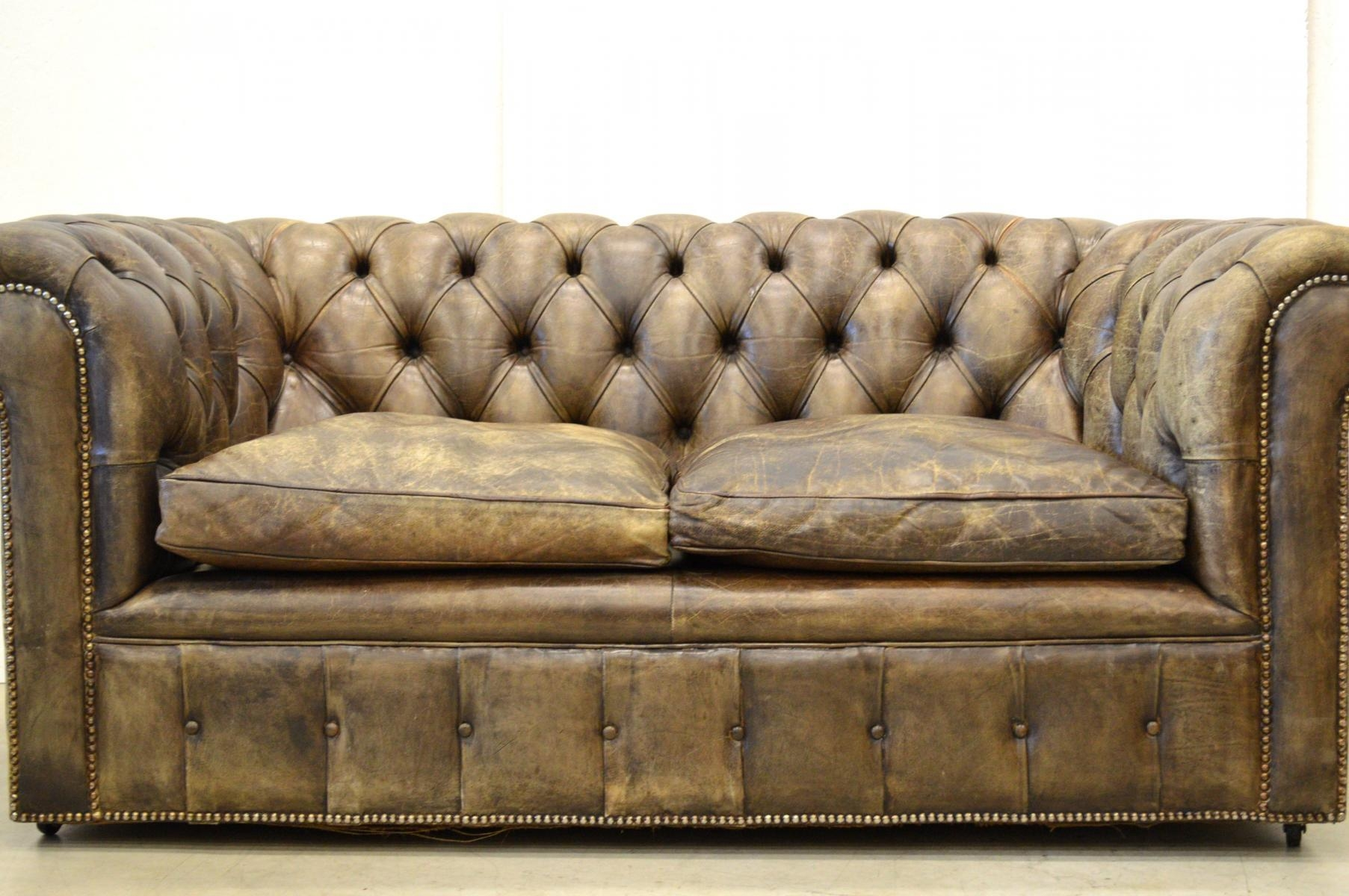Storage Vintage English Olive Green Leather Chesterfield Sofa 2 Within Vintage Chesterfield Sofas (Image 9 of 20)