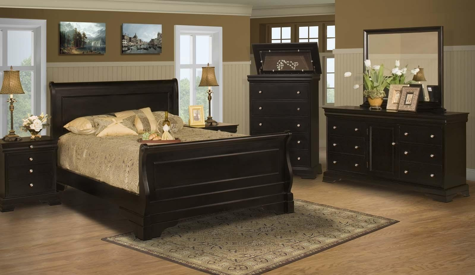 Stratford Black Cherry Queen Bedroom 4Pc Set For $ (View 19 of 20)