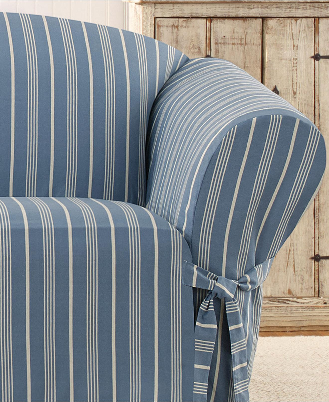 Striped Sofa Covers | Tehranmix Decoration Pertaining To Blue And White Striped Sofas (Image 17 of 20)