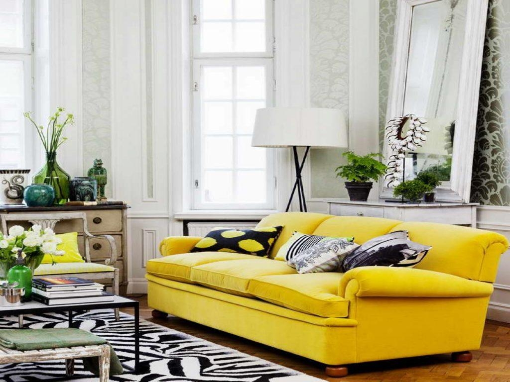 Stunning Living Room Interior Design Ideas With Yellow Sofa Within Yellow Sofa Chairs (Image 16 of 20)