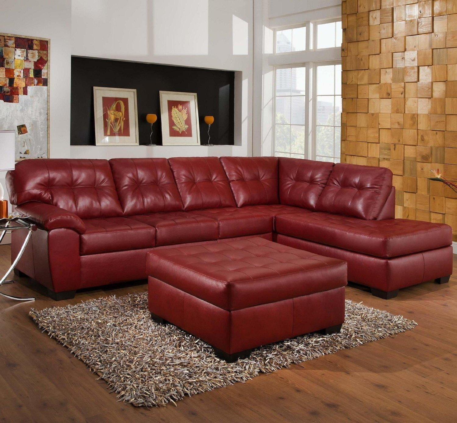 Stylish Red Leather Couches Home Decor Furniture Within Dark Image