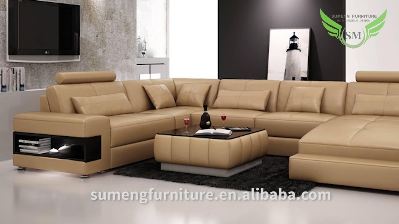 Sumeng Modern Leather U Shape Sofa – Youtube With C Shaped Sofas (Photo 1 of 20)