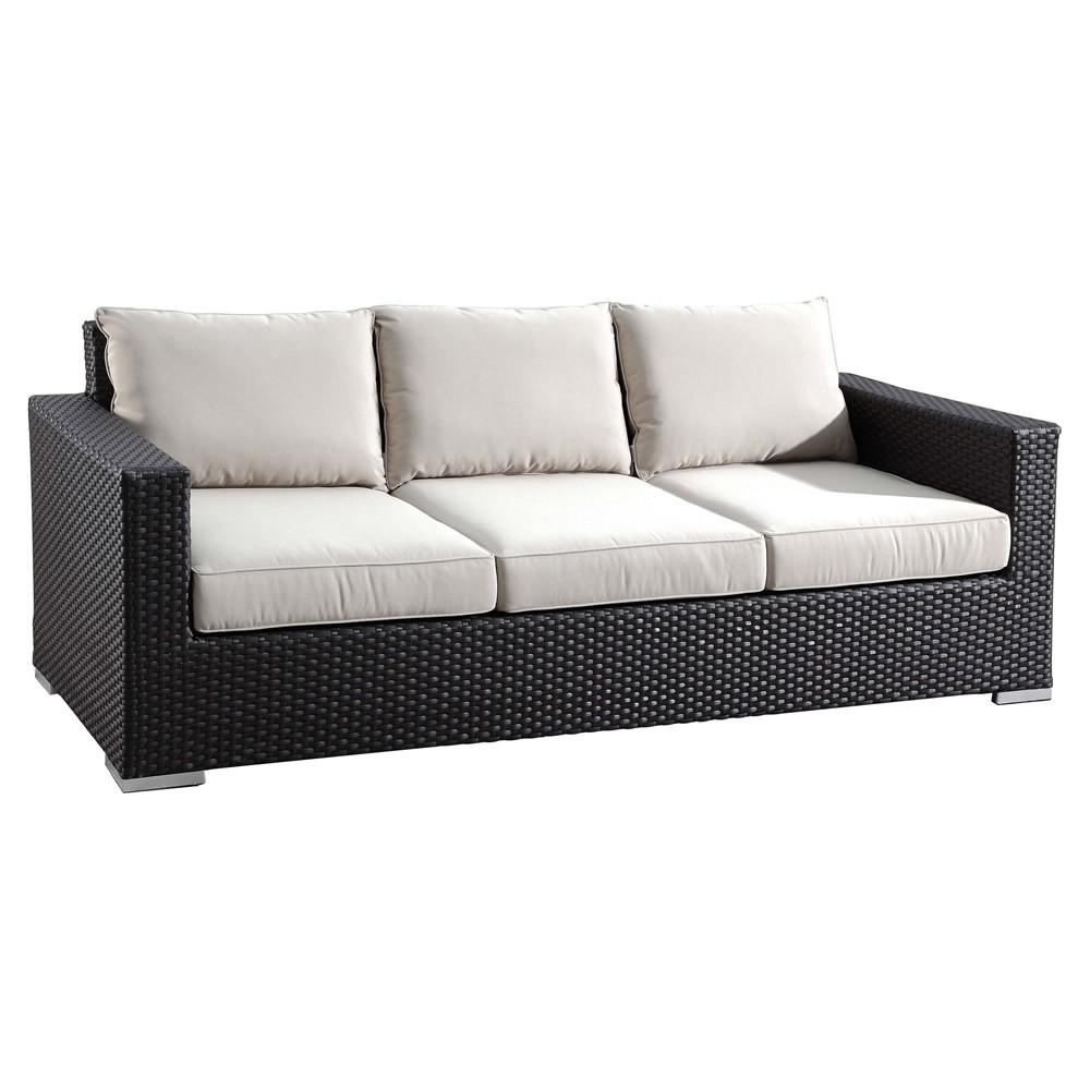Sunset West Solana Wicker Sofa – Wickercentral Regarding Black Wicker Sofas (Image 20 of 20)