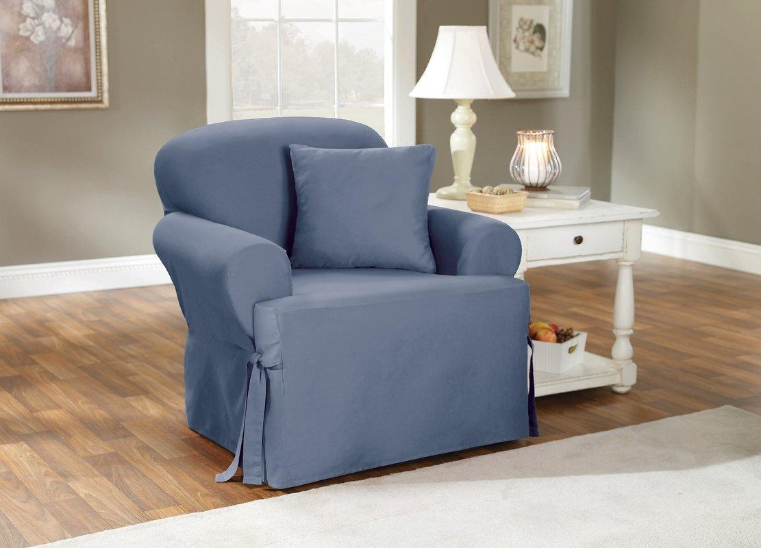 Sure Fit Cotton Duck Armchair T Cushion Slipcover & Reviews | Wayfair For Loveseat Slipcovers T Cushion (View 13 of 20)