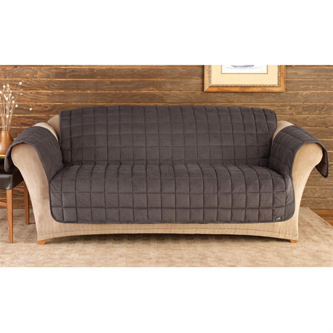 Sure Fit Deluxe Velvet Mini Check Sofa Pet Cover, Black And Brown Throughout Sofas With Black Cover (Image 20 of 20)