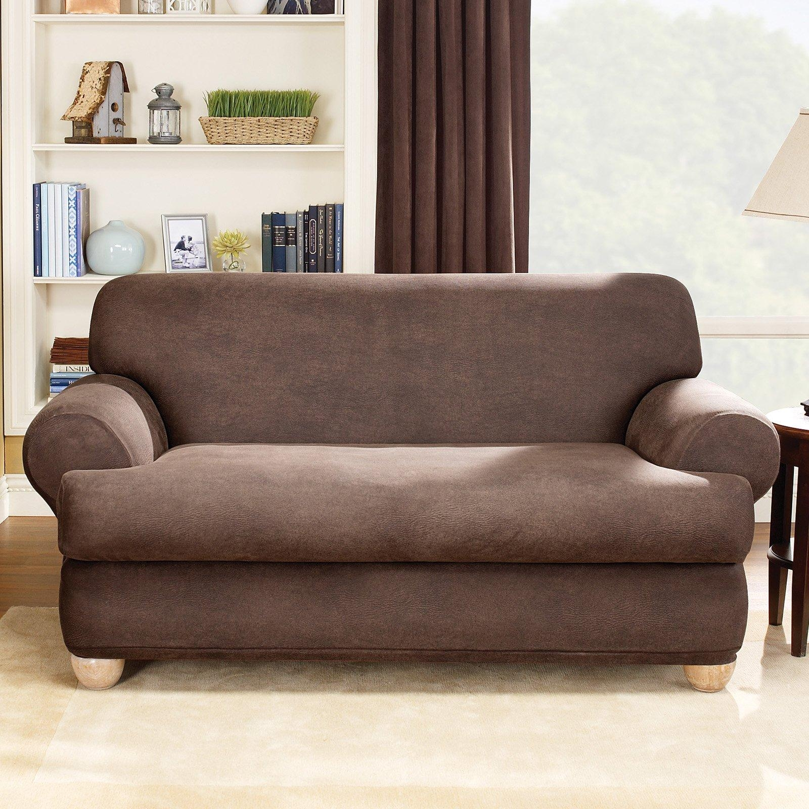 Sure Fit Lexington T Cushion One Piece Loveseat Slipcover | Hayneedle Throughout Loveseat Slipcovers T Cushion (Image 19 of 20)