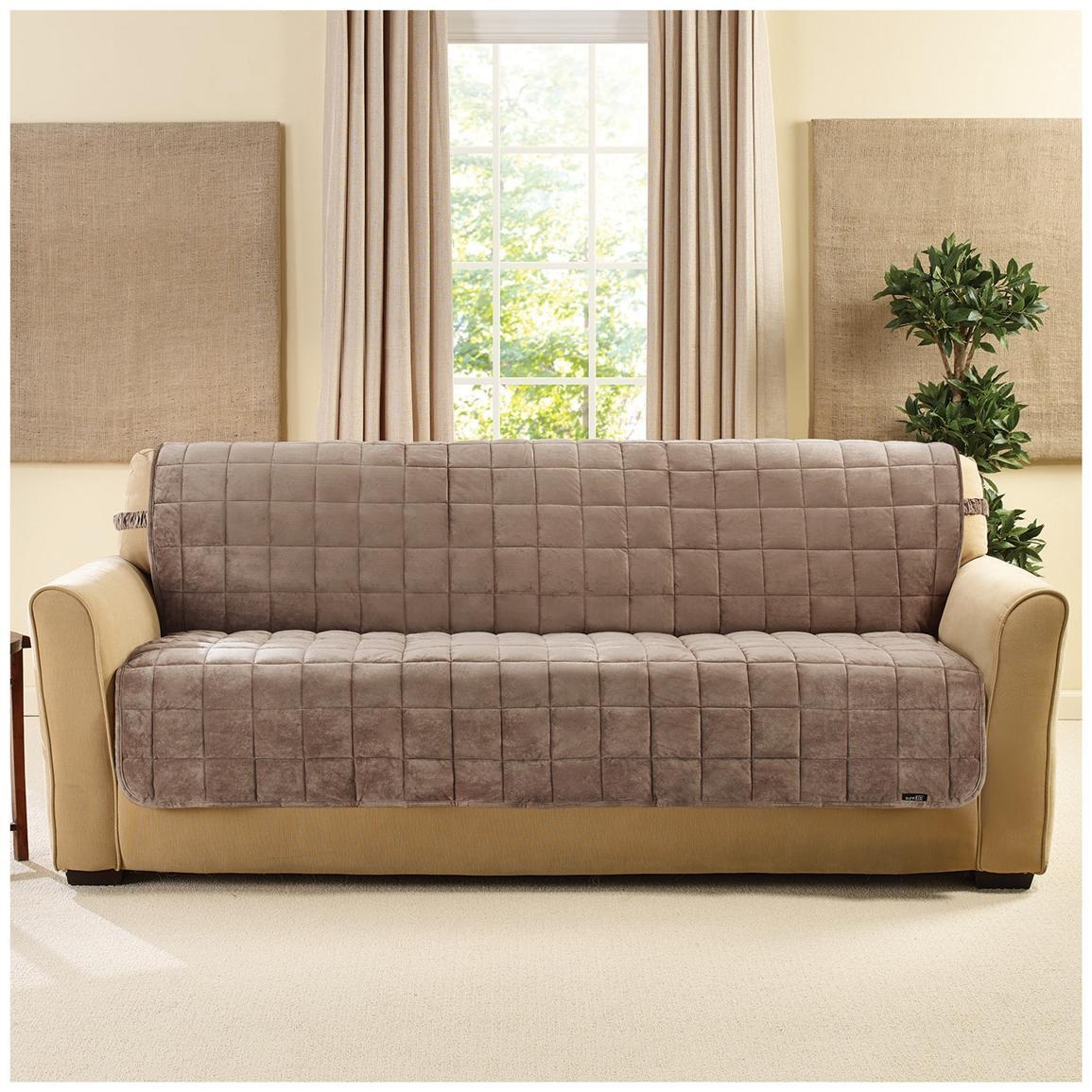 Sure Fit® Quilted Velvet Furniture Friend Armless Sofa Slipcover With Armless Couch Slipcovers (Image 20 of 20)