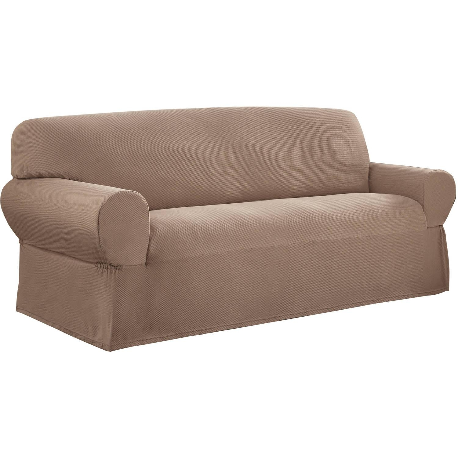 Sure Fit Scroll Brown Sofa Slipcover – Walmart Pertaining To Slipcovers For 3 Cushion Sofas (Image 20 of 20)