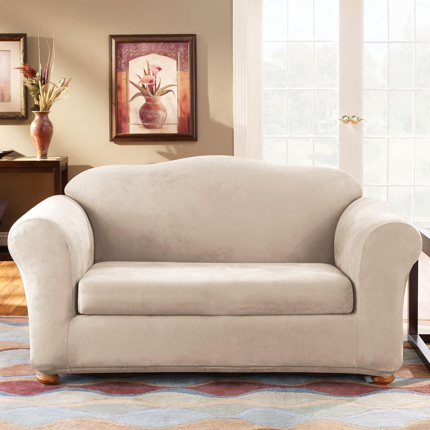 Sure Fit Slipcovers Form Fit Stretch Suede 2 Piece Sofa Slipcover Intended For Suede Slipcovers For Sofas (Image 17 of 20)