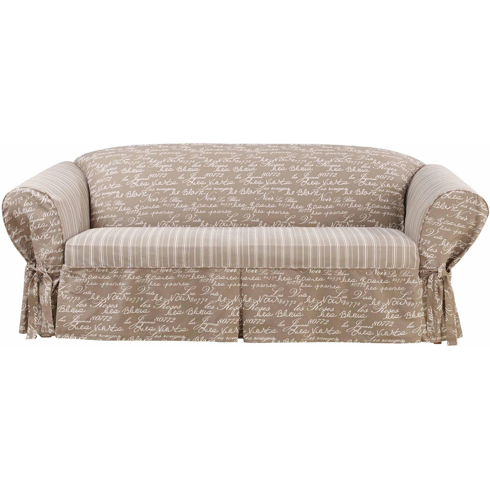 Sure Fit Soft Suede Sofa Cover – Walmart Throughout Suede Slipcovers For Sofas (View 12 of 20)