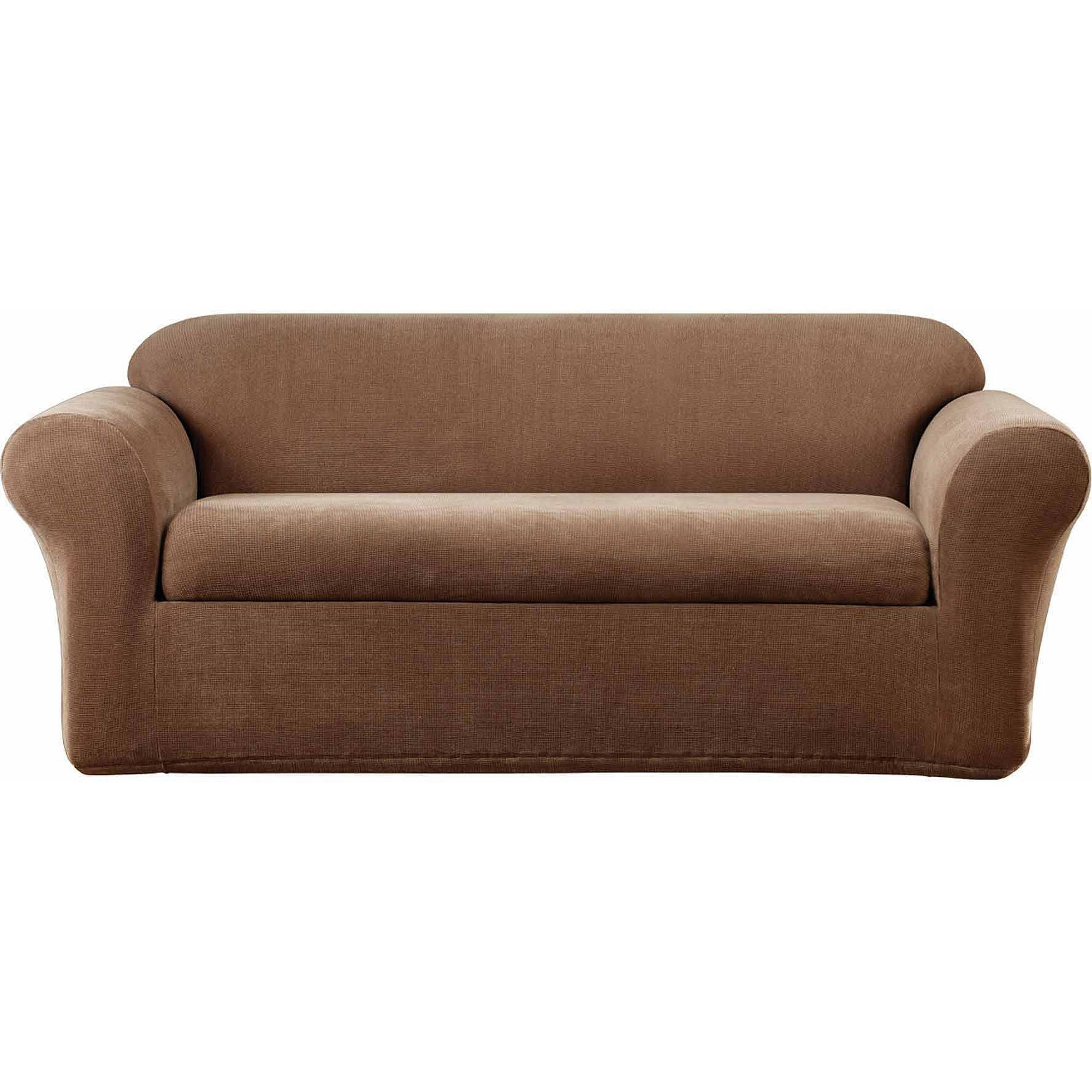 Sure Fit Soft Suede Sofa Cover – Walmart With Regard To Suede Slipcovers For Sofas (View 9 of 20)