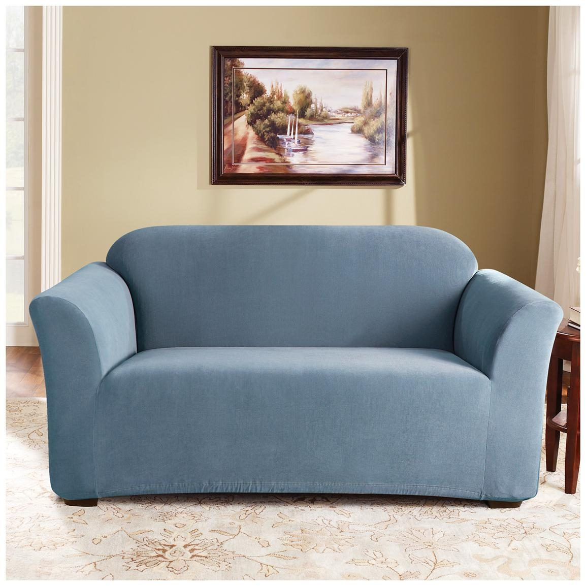 Sure Fit® Stretch Pearson Sofa Slipcover – 292823, Furniture With Regard To Blue Sofa Slipcovers (Image 19 of 20)