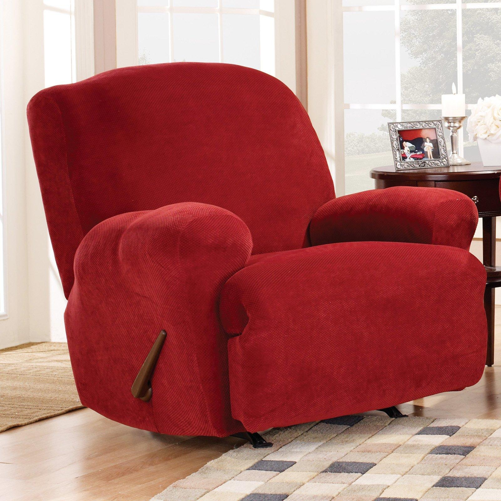 Sure Fit Stretch Pique Lift Recliner Slipcover, Medium – Walmart Throughout Slipcover For Reclining Sofas (View 8 of 20)