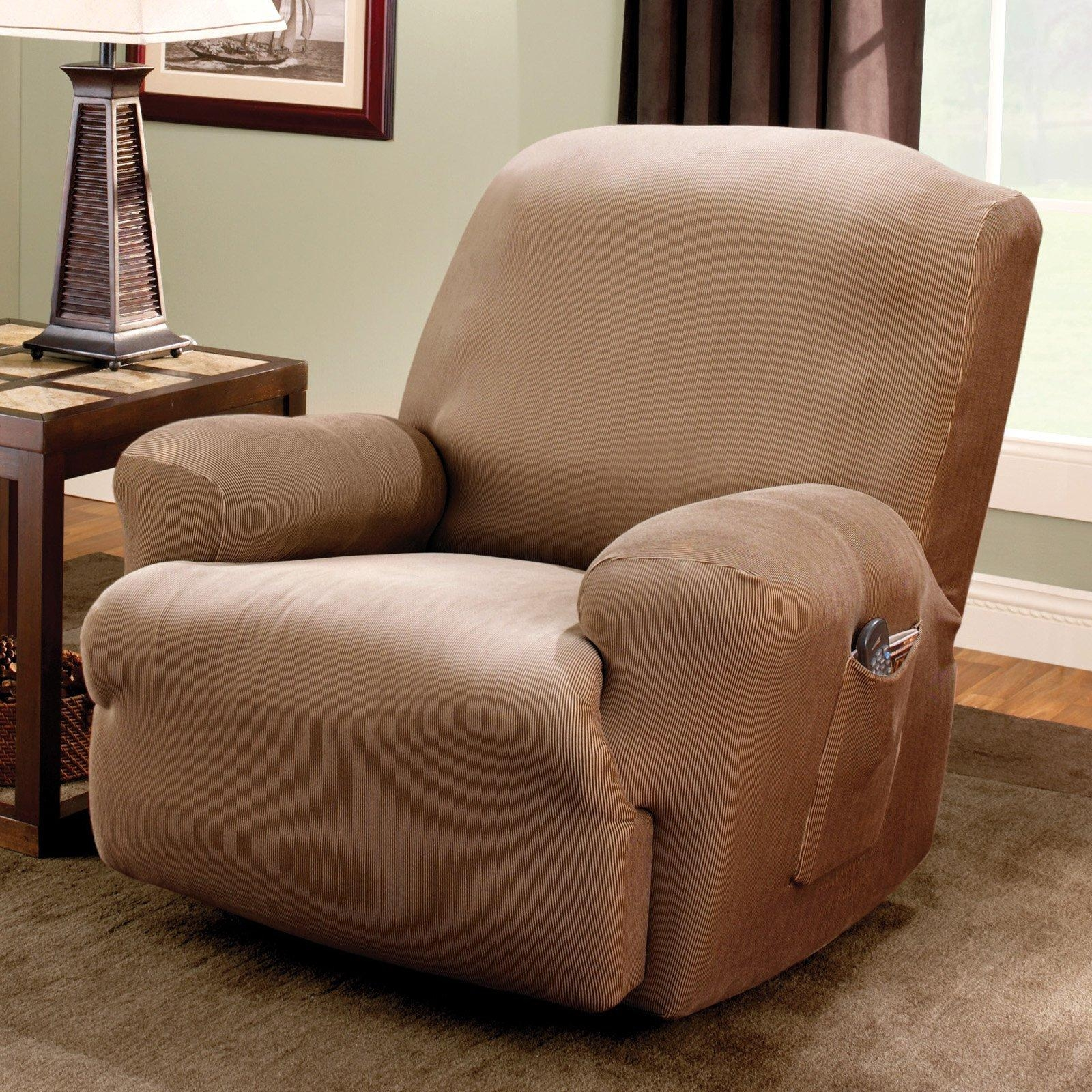 Sure Fit Stretch Stripe Recliner Slipcover – Walmart Within Stretch Covers For Recliners (View 17 of 20)