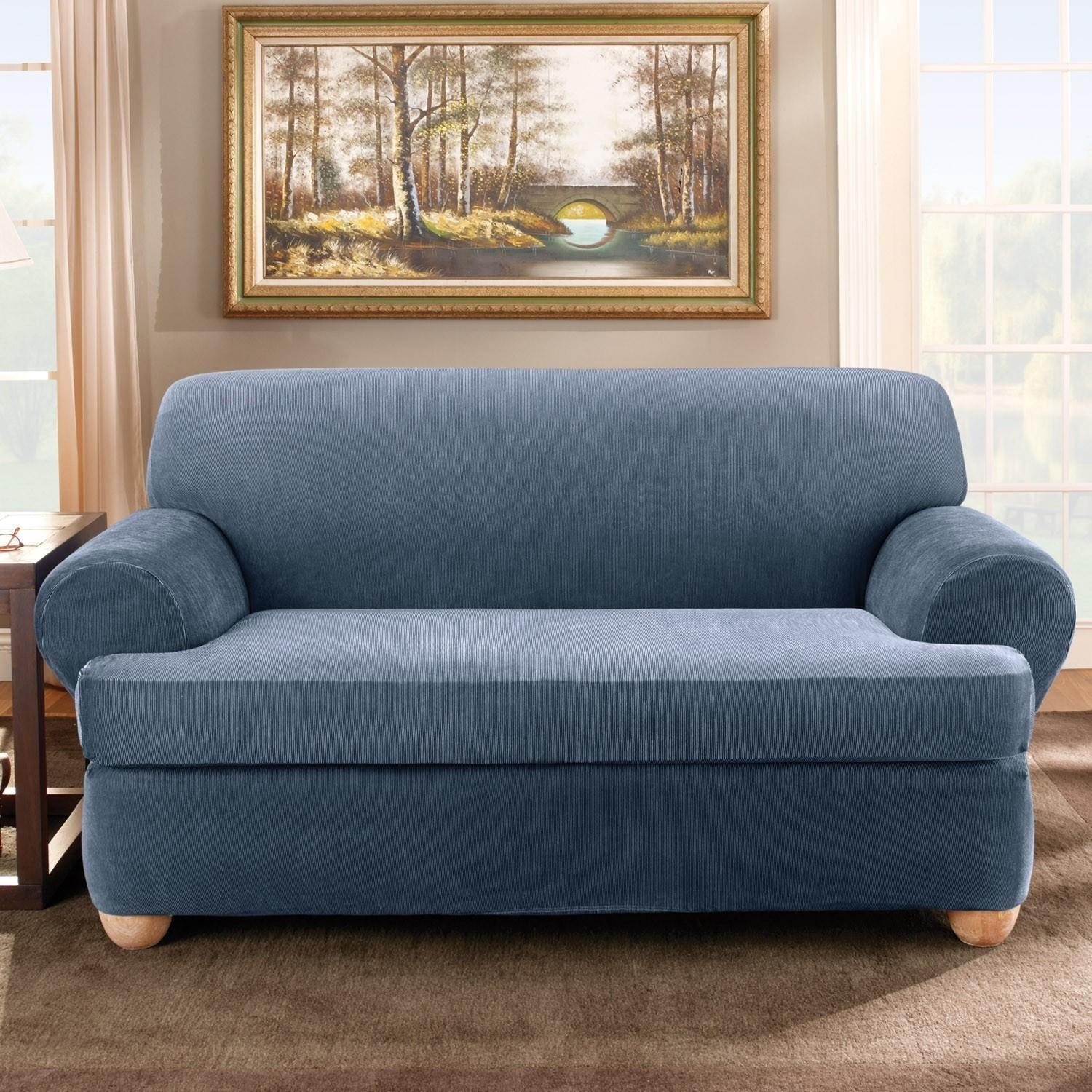 Sure Fit Stretch Stripe Separate Seat T Cushion Sofa Slipcover With Loveseat Slipcovers T Cushion (View 14 of 20)