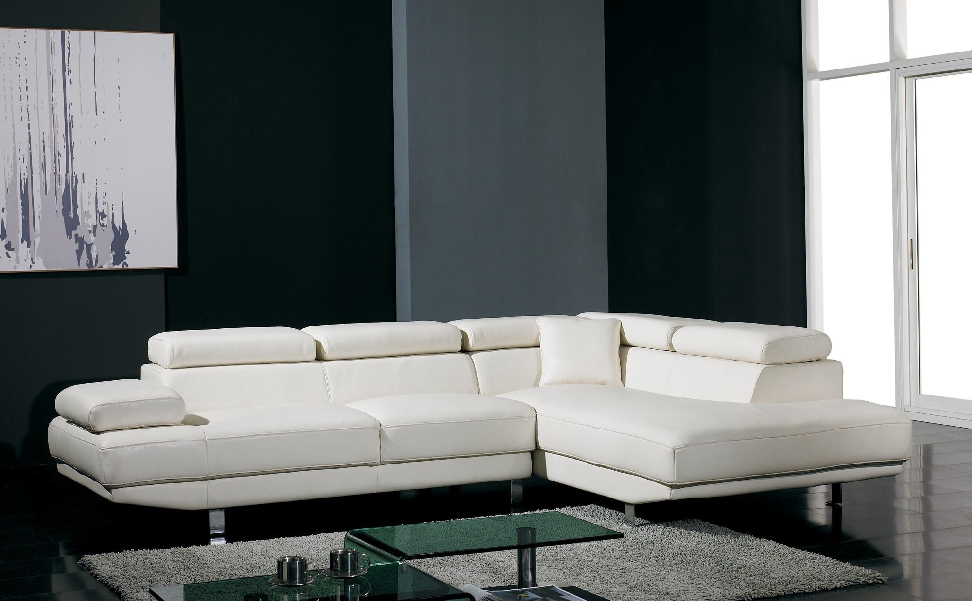T60 Ultra Modern White Leather Sectional Sofa Intended For Leather Modern Sectional Sofas (Image 19 of 20)