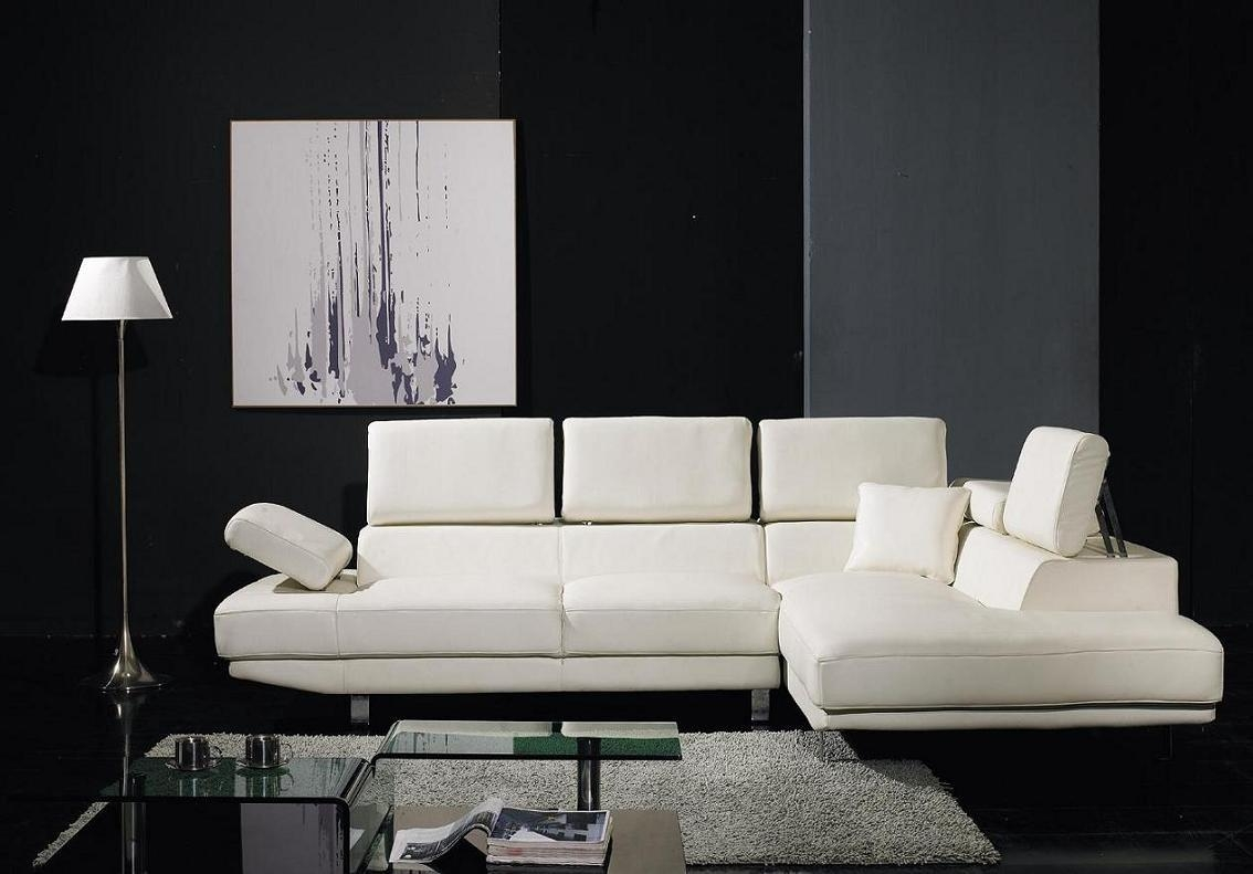 T60 – Ultra Modern White Leather Sectional Sofa With Sleek Sectional Sofa (View 11 of 20)