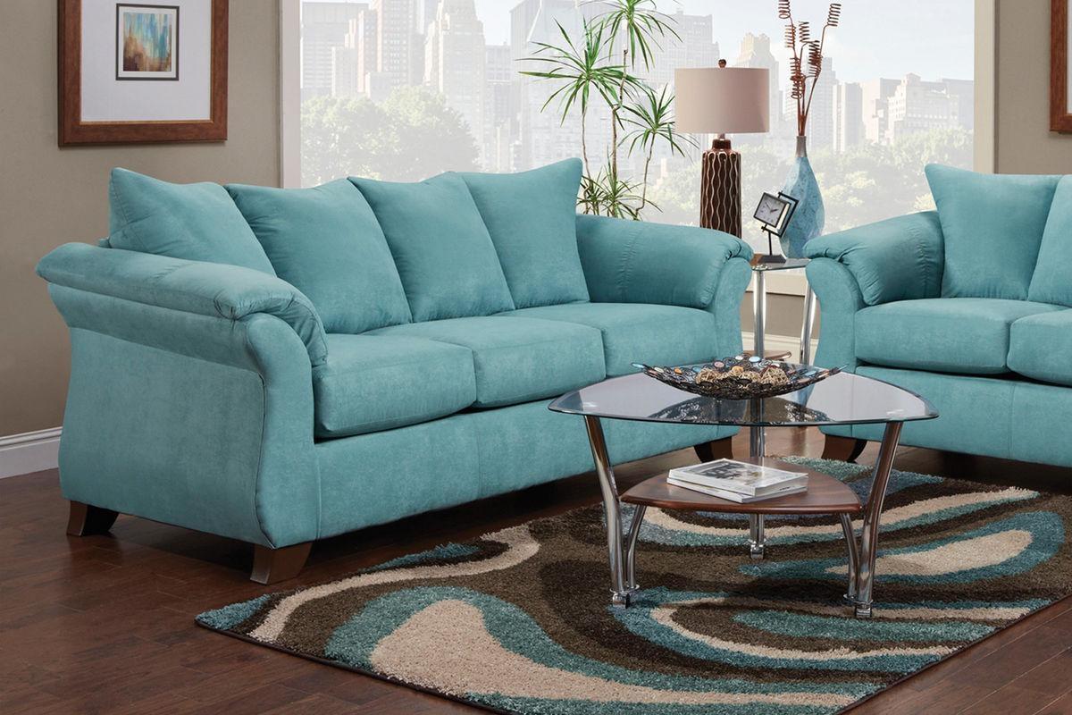 Taffy Microfiber Sofa With Regard To Blue Microfiber Sofas (Image 19 of 20)