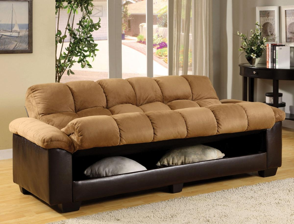 Tan Microfiber Sofa Bed Futon – Caravana Furniture Intended For Microsuede Sofa Beds (Image 19 of 20)