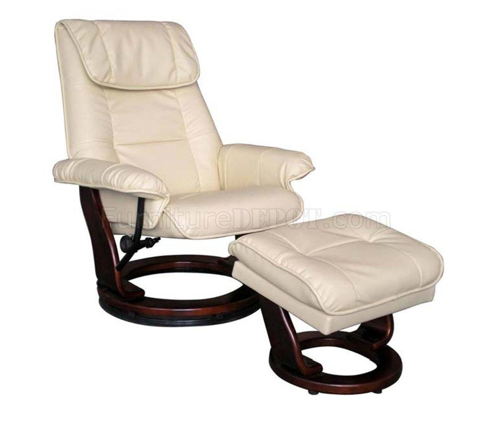 Taupe Or Brown Bonded Leather Modern Recliner Chair W/ottoman Throughout Modern Reclining Leather Sofas (Image 20 of 20)