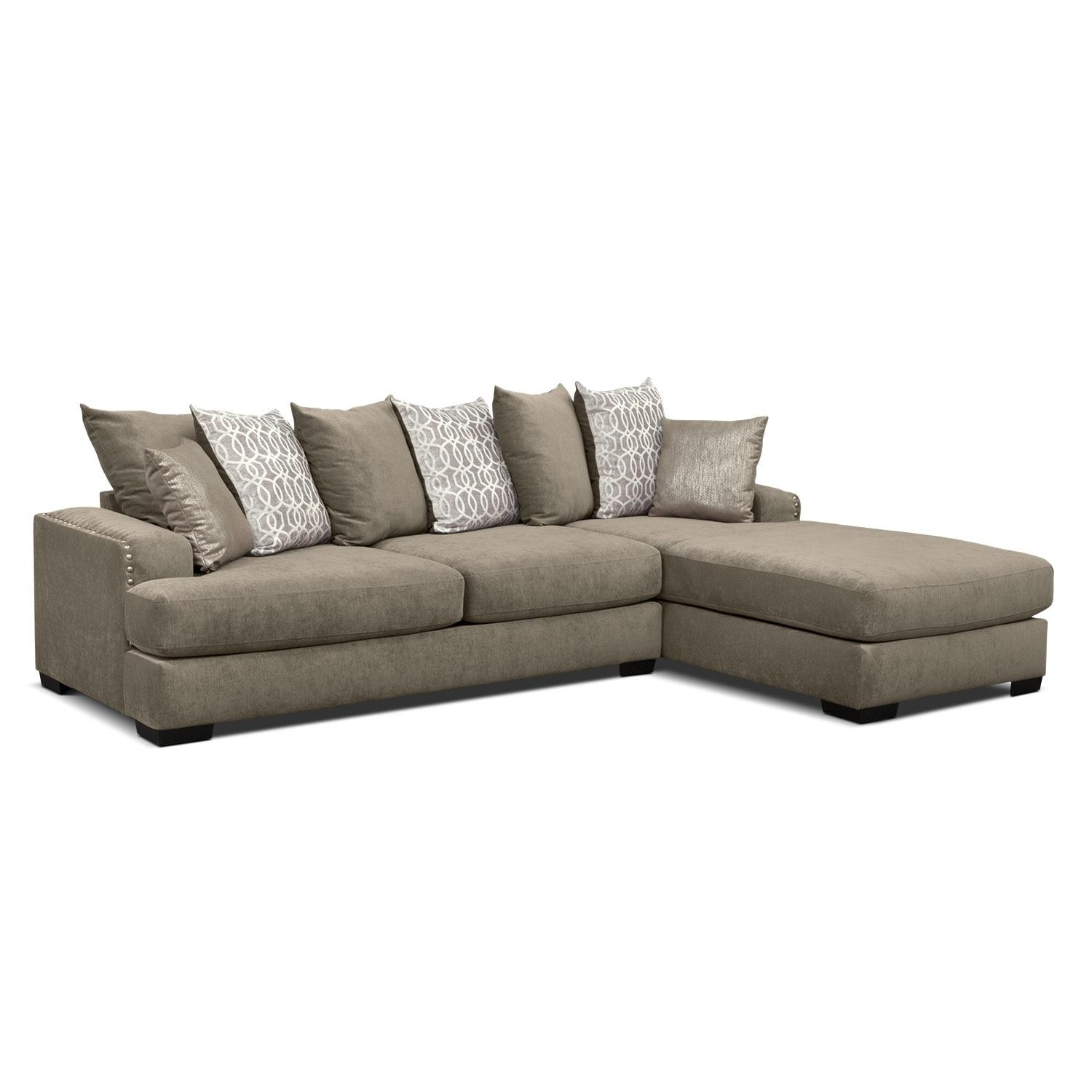 Tempo 2 Piece Sectional With Right Facing Chaise – Platinum Throughout Sectional With 2 Chaises (Image 20 of 20)