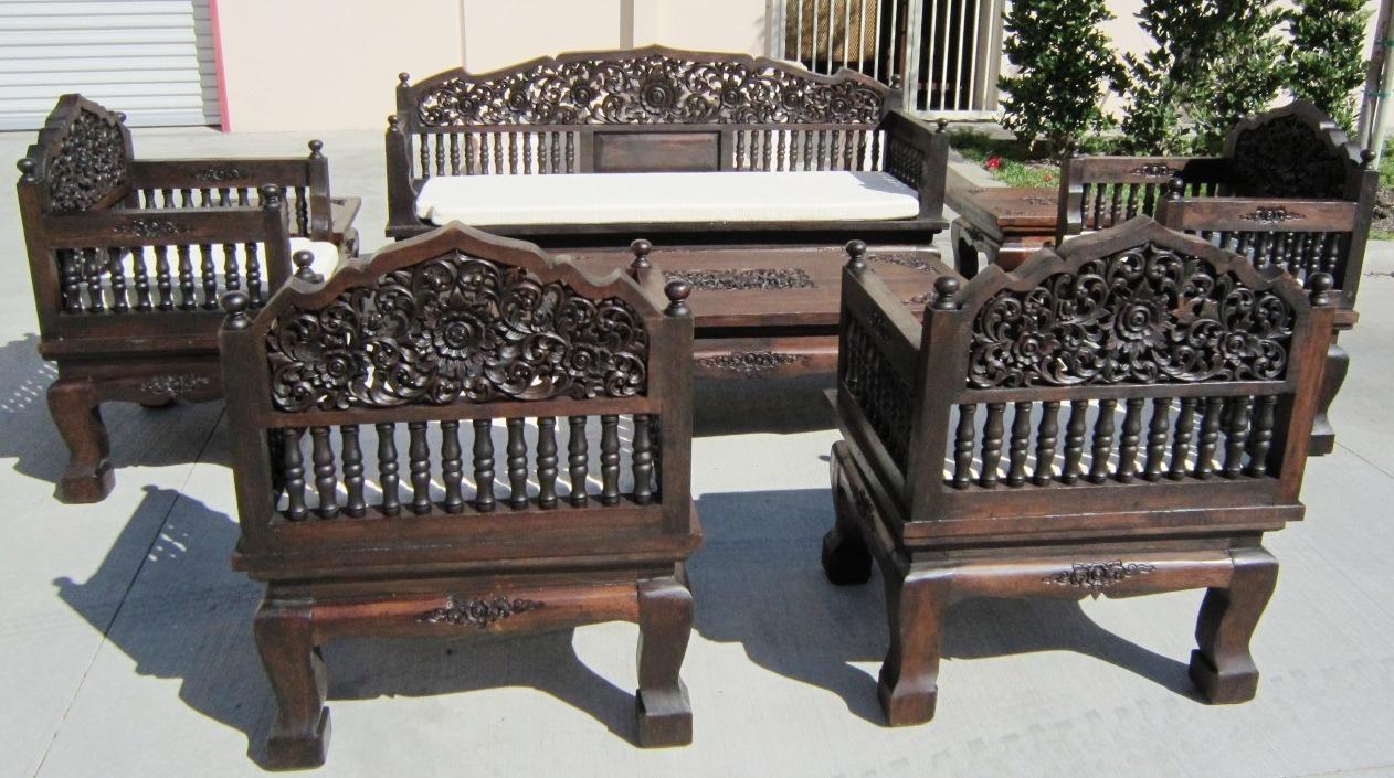 Thai Hand Carved Furniture Set Regarding Carved Wood Sofas (Image 19 of 20)