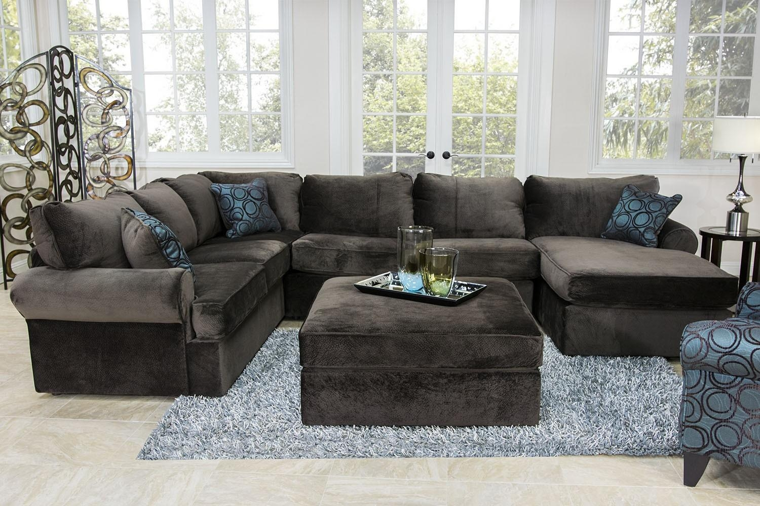 The Napa Chocolate Sectional Living Room Collection | Mor Regarding Media Room Sectional (Image 18 of 20)