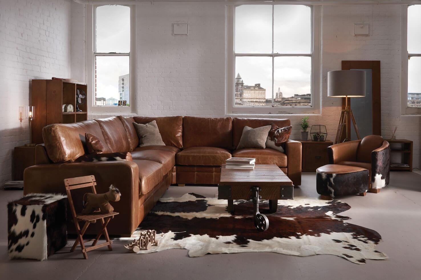 The Square Arm Leather Corner Sofaindigo Furniture Regarding Corner Sofa Leather (Image 17 of 20)