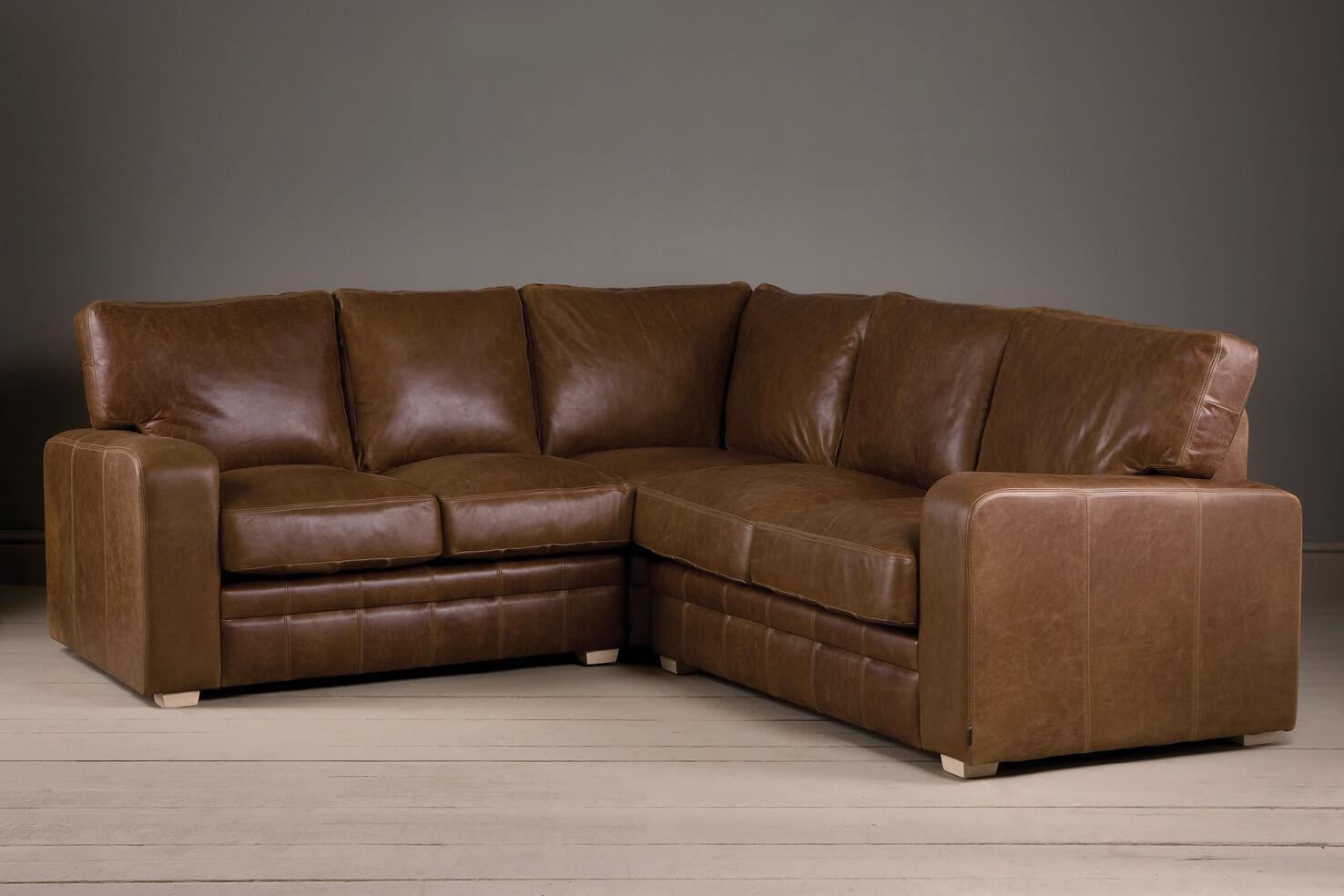 The Square Arm Leather Corner Sofaindigo Furniture Regarding Corner Sofas (Image 16 of 20)