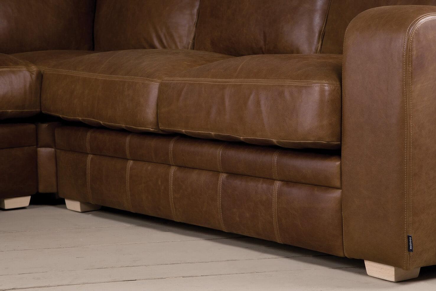 The Square Arm Leather Corner Sofaindigo Furniture Within Corner Sofa Leather (Image 19 of 20)