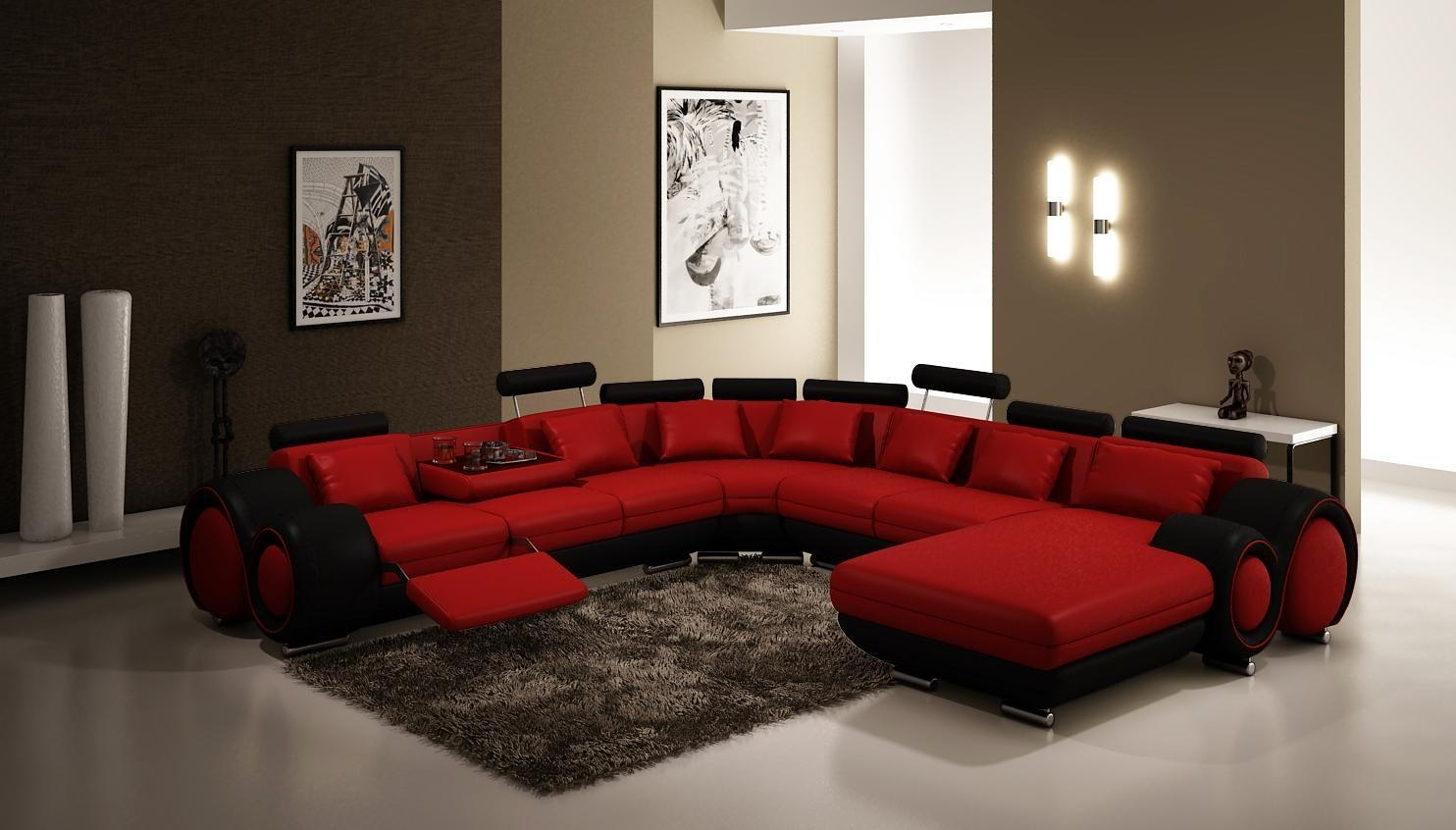 Three Seat Dark Red Leather Sofa With Panel Armrest And Dark Brown Within Dark Red Leather Couches (Image 20 of 20)